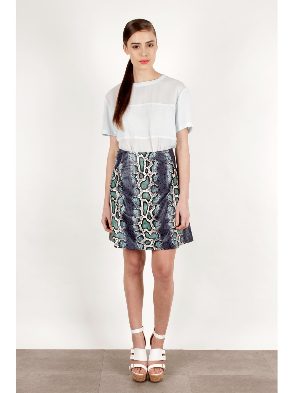 Laminated A-line Skirt
