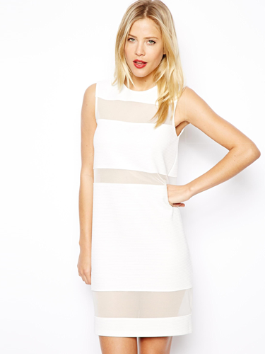 See-through Mesh Cotton Dress