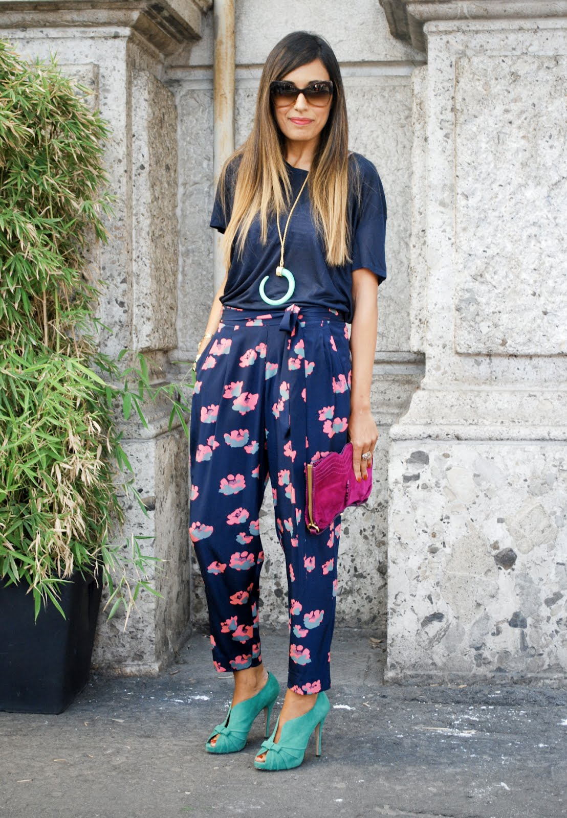 Printed Flower Bottoming Pants