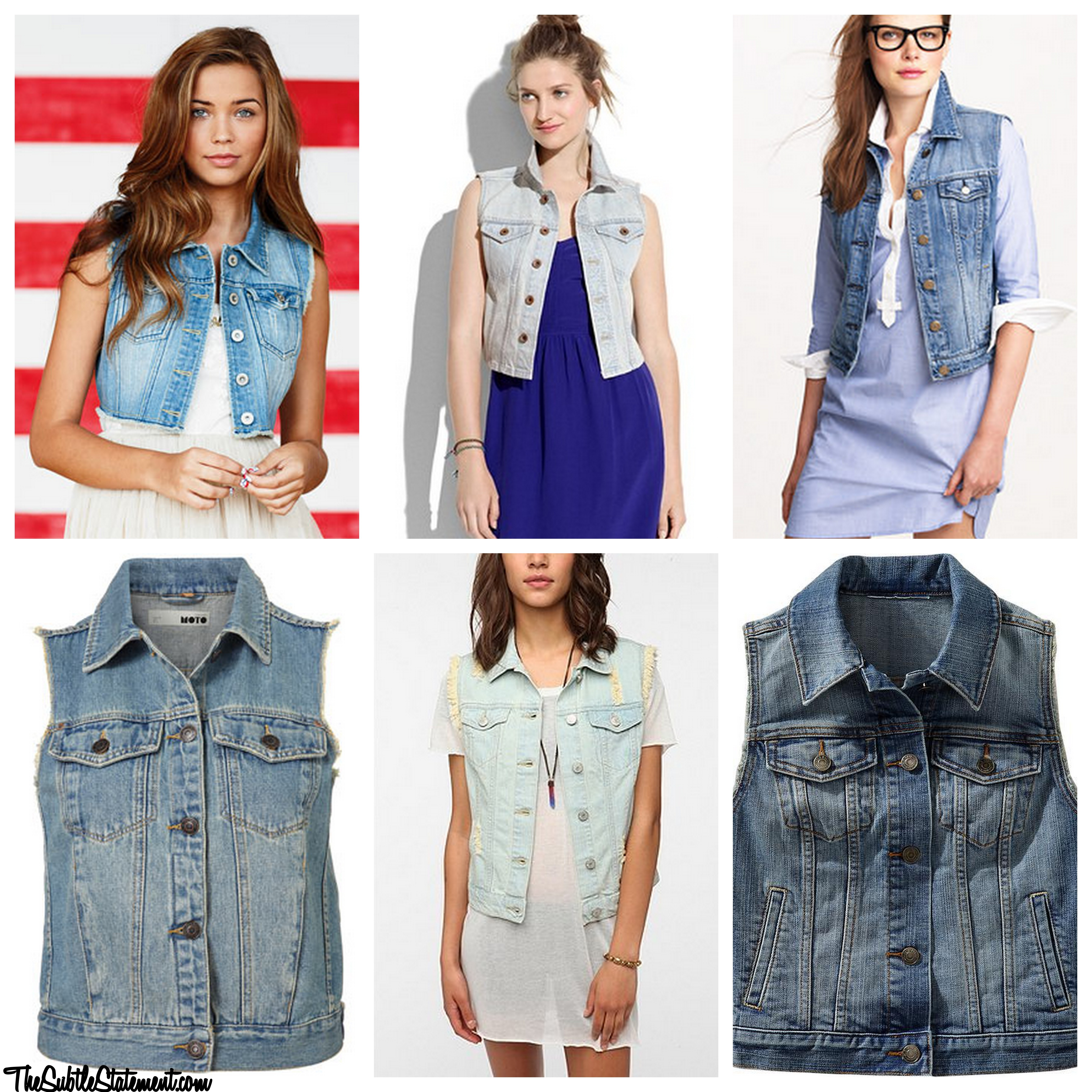 Water Wash Denim Vest