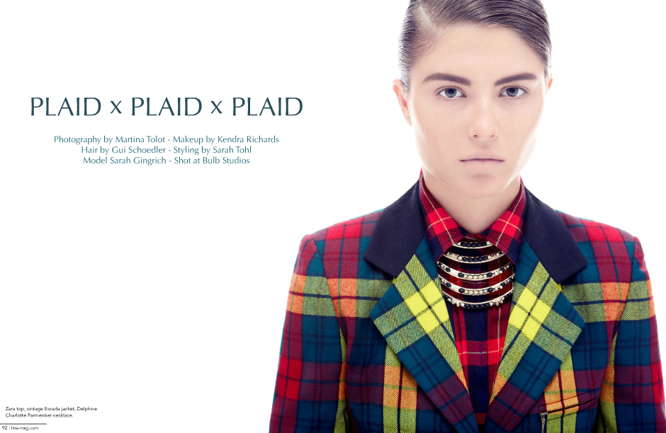 Plaid Knitted Cardigan