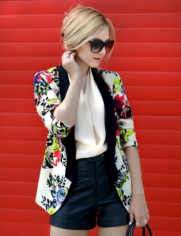 Retro Slim Floral Print Suit