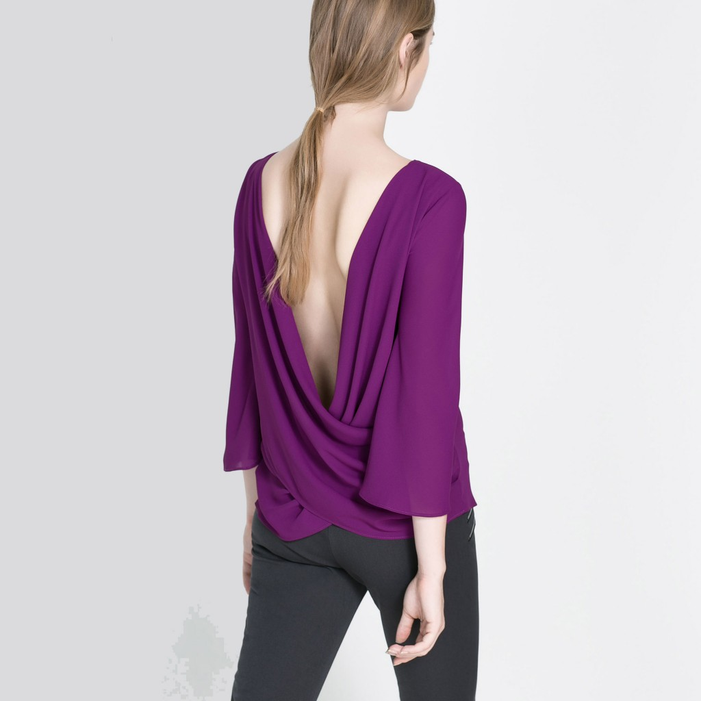 V-neck Cross Pleated Shirt