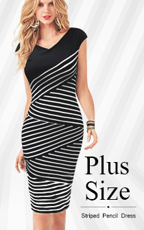 plus size striped pencil dress