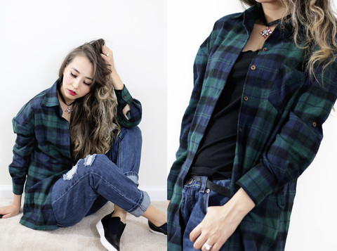 Green Blue  Plaid Blouse
