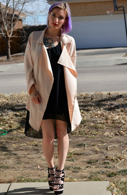 beige casual pockets coat