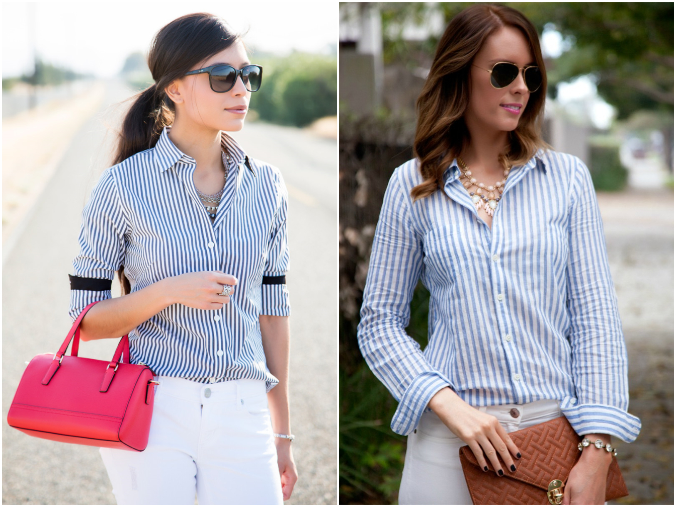 Women Beach Striped Blouse